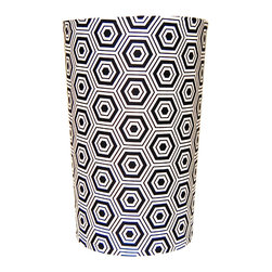 Black Hex Waste Basket - Silver wastebaskets are standard bathroom fare. For a wastebasket that doubles as a room-defining accessory, this hexagon print is daring in black and white.