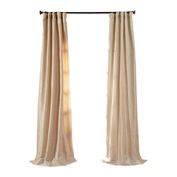 "Exclusive Fabrics & Furnishings, LLC - Antique Beige Faux Silk Taffeta Curtain - 56% Nylon & 44% Polyester. 3"" Pole Pocket with Hook Belt. Lined. Interlined. Imported. Weighted Hem. Dry Clean Only. SOLD PER PANEL."