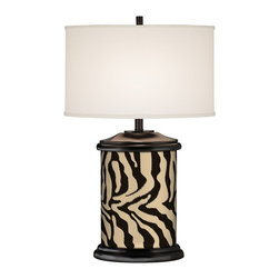 """Giclee Gallery - Asian Safari Zebra Brown Giclee Art Base Table Lamp - Here's a distinctive lamp design that's sure to make a impact in your home. It features a graceful oval base that's mirrored by the oval fabric drum shade. The real """"wow"""" factor comes from the giclee art which decorates the base. Each design is custom printed on high-quality canvas. A beautiful table lamp choice which blurs the line between lighting and art. Wood base with giclee print. Off white fabric oval shade. Takes one 150 watt bulb (not included). 30"""" high. Shade is 9"""" wide 11"""" high. Oval base is 11"""" wide 6 1/2"""" deep. 17 3/4"""" shade to base clearance. U.S. Patent # 7347593.  Wood base with giclee print.   Off white fabric oval shade.   Takes one 150 watt bulb (not included).   30"""" high.   Shade is 9"""" wide 11"""" high.   Oval base is 11"""" wide 6 1/2"""" deep.   17 3/4"""" shade to base clearance."""