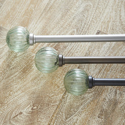 """Ballard Designs - Fluted Glass Finial & Rod Set 48-88 Inch - Coordinates with our Iron Drapery Rings. Rod available in 3 finishes. Add a touch of old world charm to your windows with our Fluted Glass finial and 88"""" Drapery Rod set. Finial is made of mouth-blown glass to capture the look of recycled glass. Rod is crafted of iron and powder-coated to resist moisture. Finial Drapery Rod set features:. ."""
