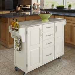 """Home Styles - Create-A-Cart Kitchen Cart with Marble Top - Home Styles Create-a-cart with a .75"""" finished top features solid wood construction, and four cabinet doors that open to storage. Features: -Four-utility drawers.-Two cabinet doors open to storage with adjustable shelves inside.-Handy spice rack with towel bar, paper towel holder.-Heavy duty locking rubber casters for easy mobility and safety.-Create-A-Cart collection.-Product Type: Kitchen Cart.-Collection: Create-a-Cart.-Counter Finish: Marble.-Hardware Finish: Brushed Steel.-Distressed: No.-Powder Coated Finish: No.-Gloss Finish: No.-Base Material: Wood.-Counter Material: Marble.-Hardware Material: Brushed steel.-Solid Wood Construction: Yes.-Number of Items Included: 1.-Water Resistant or Waterproof Cushions: No.-Stain Resistant: No.-Warp Resistant: No.-Exterior Shelves: No.-Drawers Included: Yes -Number of Drawers: 4.-Push Through Drawer: No..-Cabinets Included: Yes -Number of Cabinets : 2.-Double Sided Cabinet: No.-Adjustable Interior Shelves: Yes.-Number of Doors: 2.-Locking Doors: No.-Door Handle Design: Linear pulls..-Towel Rack: Yes -Removable Towel Rack: No..-Pot Rack: No.-Spice Rack: Yes .-Cutting Board: No.-Drop Leaf: No.-Drain Groove: No.-Trash Bin Compartment: No.-Stools Included: No.-Casters: Yes -Locking Casters: Yes.-Removable Casters: No..-Wine Rack: No.-Stemware Rack: No.-Cart Handles: No.-Finished Back: Yes.-Commercial Use: No.-Recycled Content: No.-Eco-Friendly: No.-Product Care: Clean with a damp cloth.Specifications: -ISTA 3A Certified: Yes.Dimensions: -Overall Height - Top to Bottom: 35.5"""".-Overall Width - Side to Side: 48"""".-Overall Depth - Front to Back: 17.75"""".-Width Without Side Attachments: 44.5"""".-Height Without Casters: 31.75"""".-Countertop Thickness: 0.75"""".-Countertop Width - Side to Side: 44.5"""".-Countertop Depth - Front to Back: 17.75"""".-Shelving: -Shelf Width - Side to Side: 12.5"""".-Shelf Depth - Front to Back: 12.75""""..-Leaf: No.-Drawer: -Drawer Interior Height - Top to Bottom (S"""