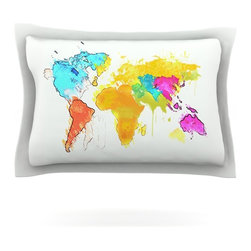 """Kess InHouse - Oriana Cordero """"World Map"""" Rainbow White Pillow Sham (Cotton, 30"""" x 20"""") - Pairing your already chic duvet cover with playful pillow shams is the perfect way to tie your bedroom together. There are endless possibilities to feed your artistic palette with these imaginative pillow shams. It will looks so elegant you won't want ruin the masterpiece you have created when you go to bed. Not only are these pillow shams nice to look at they are also made from a high quality cotton blend. They are so soft that they will elevate your sleep up to level that is beyond Cloud 9. We always print our goods with the highest quality printing process in order to maintain the integrity of the art that you are adeptly displaying. This means that you won't have to worry about your art fading or your sham loosing it's freshness."""