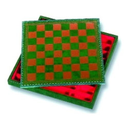 Cambor - Italian Made Storage Chess & Checker Board in Hunter Green - Made of Leatherette. Hunter Green color. Tooled Leatherette board with storage. Made in Italy. Squares: 1.375 in.. 14 in. L x 14 in. W x 1.75 in. H (2 lbs.)