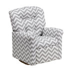 "Flash Furniture - Kids Zig Zag Gray Fabric Rocker Recliner - Kids will now be able to enjoy the comfort that adults experience with a comfortable recliner that was made just for them! This chair features a strong wood frame with soft foam and then enveloped in durable fabric upholstery for your active child. Choose from an array of colors that will best suit your child's personality or bedroom. This petite sized recliner features a rocker frame for kids to enjoy and feel like a big kid. The rocking feature becomes disabled once the chair is reclined for safety. Child's Recliner; Zig Zag Gray Fabric Upholstery; Easy to Clean Upholstery; Plush Button Tufted Back; Spring Seat; Fire Retardant Foam; UFAC Tested and Approved; Solid Hardwood Frame; Hardwood Rocker Frame; Intended use for Children Ages 2-9; 90 lb. Weight Limit; Safety Feature: Will not rock while reclined due to welded T-Bar; Overall dimensions: 22.5""W x 24"" - 37""D x 28""H"