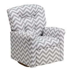 """Flash Furniture - Kids Zig Zag Gray Fabric Rocker Recliner - Kids will now be able to enjoy the comfort that adults experience with a comfortable recliner that was made just for them! This chair features a strong wood frame with soft foam and then enveloped in durable fabric upholstery for your active child. Choose from an array of colors that will best suit your child's personality or bedroom. This petite sized recliner features a rocker frame for kids to enjoy and feel like a big kid. The rocking feature becomes disabled once the chair is reclined for safety. Child's Recliner; Zig Zag Gray Fabric Upholstery; Easy to Clean Upholstery; Plush Button Tufted Back; Spring Seat; Fire Retardant Foam; UFAC Tested and Approved; Solid Hardwood Frame; Hardwood Rocker Frame; Intended use for Children Ages 2-9; 90 lb. Weight Limit; Safety Feature: Will not rock while reclined due to welded T-Bar; Overall dimensions: 22.5""""W x 24"""" - 37""""D x 28""""H"""