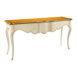 Kathy Kuo Home - Manet French Country Cherry Wood Ivory Console Table - This classic, French Country console table has cabriole legs, three exquisitely shaped drawers and a shimmering, light cherry top. The artistic, antique reproduction is elegant in the living room behind a sofa or welcoming visitors to a guestroom. Made to order in Europe; please allow 4 months lead time to ship.