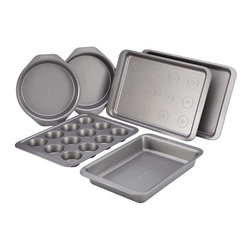 Cake Boss - Cake Boss Basics Nonstick Bakeware 6 Piece Bakeware Set - Gray Multicolor - 5506 - Shop for Bakeware Sets from Hayneedle.com! Easy for the beginner yet smart enough for an advanced baker the Cake Boss Professional Nonstick Bakeware 6 Piece Bakeware Set - Gray elevates your baking game. This bakeware set is crafted of carbon steel for durability. Its lasting nonstick coating resists wear releases baked goods easily and is a piece of cake to clean. The generous handles ensure a secure grip. Oven-safe to 450-degrees. This set includes two 10x15-inch cookie pans with drop zones two 9-inch round cake pans a 12-cup muffin pan and a 9x13-inch cake pan.About Cake Boss Baking Buddy Valastro is a fourth generation baker runs his family s business Carlo s Bakery and is the Cake Boss on TLC. Inspired by Buddy s reality baking series Cake Boss now offers a comprehensive line of bakeware cake decorating tools and kitchen accessories. Designed to make baking fun these high-quality baking and decorating products let you bake like the boss.