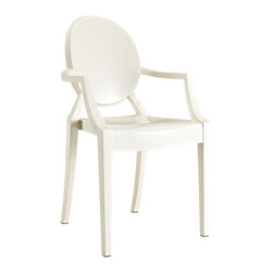 Modern Acrylic Chair, Sheet White - Inspired by an eerie love ballad and the iconic 2002 post-modern chair design, the Sweet William Chair infuses any space with energy without too many visual interruptions. The sheet-white hue makes it a versatile indoor or outdoor seating option for all homes looking to add a bit of that modern Britannia cool.