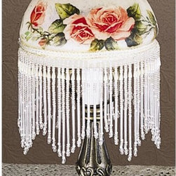 Meyda Tiffany - Rosebush Fringed Mini Lamp - Requires one 40 watts candelabra type bulb. 6 in. W x 13.5 in. H. Care InstructionsHand painted apricot roses adorn this charming fringed glass shade which is matched with a mahogany bronze finished lamp base. The rose mini lamp is a romantic way to add light to your room.