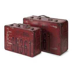 iMax - Richmon Suitcases, Set of 2 - Inspired by license plates from an earlier time, this set of two suitcases feature vintage graphics and are great for adding color to any decor.