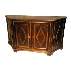Pre-owned Italian Gothic Wall Credenza - This cabinet was designed and built for Bloomingdales, by Guido Zachele in Italy. Constructed from solid oak, it's been expertly antiqued lending it the look of an authentic period piece. There are 3 storage areas: one on either end of the cabinet and a very large center area. Each of the cabinets has an adjustable shelf, plus there's a drawer in the center.