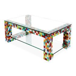 EcoChic Lifestyles - Apocalypso Reclaimed Wood Coffee Table - The Apocalypso Coffee Table pulls out all the stops. The eclectic mosaic base, with its unexpected twists and turns, is made from hand-cut squares of reclaimed fishing boat wood. The glass tabletop and shelf keep all the focus on the dancing color while adding polish and grace to this breathtaking piece.
