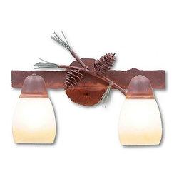 Avalanche-Ranch - Pine Cone Art: Lakeside Double Bath Vanity Light - Bath Vanity Lights - Double with Pine Cone artwork - Takes (2) 60W Medium bulb(s)