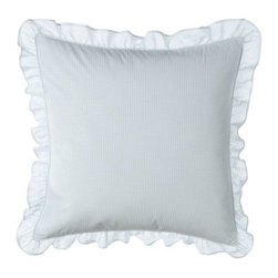 """Lauren Ralph Lauren - Lauren Ralph Lauren Ruffled Gingham Pillow, 18""""Sq. - This all-cotton bedding collection is a playful pairing of the understated and the vibrant. Vintage influences add to the charm. From Lauren Ralph Lauren. Machine wash. Imported. White cotton pique duvet covers with floral vine embroidery, blue bindin..."""