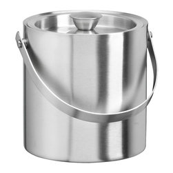 Kraftware - 1.5-qt. Doublewall Insulated Ice Bucket - Made from brushed stainless steel. 9 in. W x 9 in. D x 9 in. H (2 lbs.)