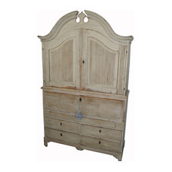Antique 18th C Gustavian Swedish Empire Secretary Desk - An antique piece can be a great investment. This wonderful secretary's desk has the original distressed gray finish and dates back to the 1700s.