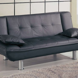 Global Furniture - Sleeper Sofa - Black - 012S-Bl - The 012 Sleeper Sofa by Global Furniture is a multi-purpose sofa. It sits upright like a normal sofa and lays flat for a bed.