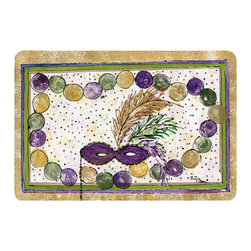Caroline's Treasures - Mardi Gras Beads  Kitchen Or Bath Mat 20X30 - Kitchen or Bath COMFORT FLOOR MAT This mat is 20 inch by 30 inch. Comfort Mat / Carpet / Rug that is Made and Printed in the USA. A foam cushion is attached to the bottom of the mat for comfort when standing. The mat has been permenantly dyed for moderate traffic. Durable and fade resistant. The back of the mat is rubber backed to keep the mat from slipping on a smooth floor. Use pressure and water from garden hose or power washer to clean the mat. Vacuuming only with the hard wood floor setting, as to not pull up the knap of the felt. Avoid soap or cleaner that produces suds when cleaning. It will be difficult to get the suds out of the mat