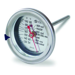 """CDN Meat Poultry Thermometer - The CDN IRM200 is perfect for professional results with meats and poultry.  Simply insert the stem at least halfway into the meat or poultry  making sure that it is not inserted into a fatty deposit or dressing.  Slide the target marker to the desired temperature.  Remove food from oven when it has reached this temperature.Product Features                        Instrument Range: 130 to 190°F/54 to 88°C            Extra large 2""""/5.1 cm dial  5""""/12.7 cm stem            Waterproof            Ovenproof            For roasts  meat & poultry            Durable laboratory glass lens            Target range indication            Target marker            Stainless steel housing            Temperature guide on dial"""