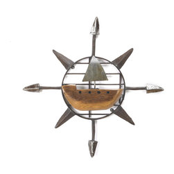 Sailboat Compass Sculpture - This wall sculpture was Handmade by Ben Gatski in Pennsylvania using reclaimed metal and old barn wood.