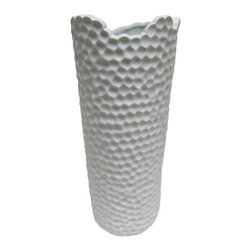 Bahari - Porcelain Honeycomb Vase - Our matte finish milky-white porcelain melon vase has a cylindrical shape and ribbed design that adds an organic sensibility to any floral arrangement or grouping of objects. Using traditional kiln-fired techniques that have been employed since porcelain originated each piece is hand-turned and crafted, thus every piece has its own character.