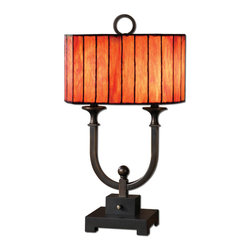 Uttermost - Bellevue Black Rustic Iron Accent Lamp - This  rustic  iron  table  lamp  has  a  unique  metal  post  center  with  an  oil  rubbed  bronze  finish  and  a  rustic  black  base.  The  oval  shade  is  iridescent  style  art  glass.  Click  here  to  see  more  unique  lamps.