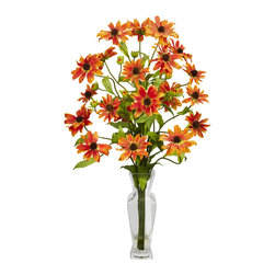 "Nearly Natural - Cosmos w/Vase Silk Flower Arrangement - The appropriately named Cosmos plant - sporting the most vibrant colors of the universe - will add an energetic boldness anywhere on Earth. Each flower is a miniature sun giving different shades of color to any room. Together it's a literal starburst of color! Standing at 27 inches high, this arrangement comes in a tall glass vase with ""liquid illusion"" faux water, thus giving the appearance of fresh vibrant flowers burning bright forever."