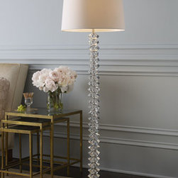 "Horchow - Crystal Floor Lamp - Glamorous stacked-crystal floor lamp gives any room star power. Hand-cut crystal base. White cotton shade. Uses one 100-watt bulb. 18""Dia. x 63""T. Imported."