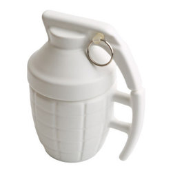 Grenade Mug, White - The best way to start your morning off with a bang is the Grenade Mug! This porcelain mug is an incredibly lifelike replica of a real grenade. The Grenade Mug comes with a removable top that helps keep your beverages warm and is also microwave safe after you remove the small metal pin. We're pretty sure pulling the pin won't make it explode, but try it for yourself and see. Available in black or white.