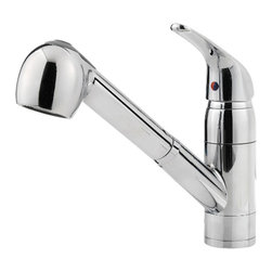 Price Pfister - Pfister G133-10CC Pfirst Single-Handle Pull-Out Kitchen Faucet - This Pfirst Series traditional pull-out kitchen faucet features a ceramic cartridge, a 1 or 3-hole installation, a pull-out spout, and a polished chrome finish.