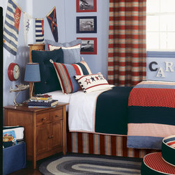Eastern Accents - Carter Bedset - Carter salutes the red, white, and blue. This boys' bed set represents classic Americana and features a hand-painted star motif and a pieced duvet with banded stripes.