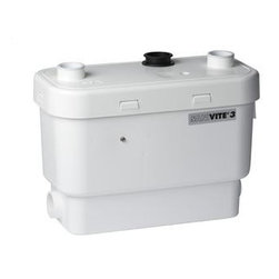 "Saniflo - Saniflo 008 Gray Water Pump  Heavy Duty White - Sanivite Heavy Duty Water PumpThe Sanivite gray water pump is the perfect solution for a basement apartment or anywhere else that you need to add additional plumbing fixtures. The Sanivite is preferred for heavy duty application because of its unique design and capabilities.The inside of the Sanivite is comprised of a pressure chamber, which starts and stops the unit, and the motor, which drives the pump.When the water enters the Sanivite, it activates a micro switch in the pressure chamber, which in turn starts the motor. The motor is sealed for life in an oil filled enclosure. A spindle/shaft drives the impeller and therefore the moving parts are kept to an absolute minimum. Water enters the chamber and is pumped away into the sanitary sewer.The unit pumps the effluent upward to 16 feet and/or 150 feet horizontally (with gravity fall). Once the water is discharged and the water level in the container goes down, the micro switch deactivates the unit until water enters the unit again. A normal operating cycle for the Sanivite can be as short as 2 - 10 seconds depending upon the discharge pipe run configuration; power consumption is therefore minimal.Waste water from additional sanitary fixures is discharged into the sanivite via two 1-1/2"" inlets on either side of the housing and another on top. The sanivite can accommodate a sink, shower, bathtub, urinal and even a whirlpool (additional base needed for shower and tub).This unit has been designed with a vent connection on the lid. All plumbing codes require connection to a vent system. Please note that the vent system should be a two-way air vent. The use of mechanical vents, air admittance valves or similar devices are not permitted as these are considered one-way air vent systems.It is also highly recommended for the gray water pump to be connected to a Ground Fault Interrupter (GFI) circuit.The Sanivite is small enough to fit comfortably inside a kitchen cabinet or vanity or inside the overhang of a whirlpool."