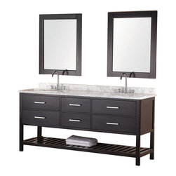 "Design Elements - London 72"" Double Sink Vanity Set in Espresso - The 72"" Londonrectangular-sinkdouble vanityin espresso is elegantly constructed of solid hardwood. The classic beauty of the white Carrera marble countertopand contemporary style of the espresso cabinetry bring a sophisticated and clean look to any bathroom. Seated at the base of the rectangular ceramic under-mount sinks are chrome finish pop-up drains, designed for easy one-touch draining. Two matchingframed mirrors are included. This beautiful vanity includes four pullout drawers and two pull-down shelves, all accented with satin nickel hardware.There is an additional open storage shelf at the bottom of the vanity. The London Bathroom Vanity is designed as a centerpiece to awe and inspire the eye without sacrificing quality, functionality, or durability."