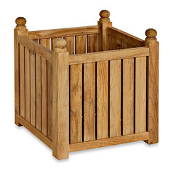 Three Birds Casual - Medium Teak Planter/Flower Box - This teak planter would make a nice home for plants or annual flowers.