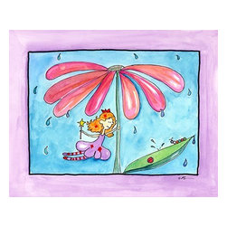 Oh How Cute Kids by Serena Bowman - April Showers, Ready To Hang Canvas Kid's Wall Decor, 16 X 20 - Part of my Fairy Nursery Rhymes series. I have several in the series for boy and girls!  Each are sold separately but coordinates with everything in the series for an easy fun room decor!
