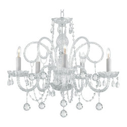 Gallery - Gallery T40-129 5 Light 1 Tier Crystal Candle Style Chandelier - Features: