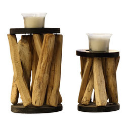 ParrotUncle - Iron Plate Glass Cup Candle Holder Set of 2 - Take a look at this beautifully unique,This gorgeous candle holder is modeled after a leafless tree branch,and finished with a textured which is perfect for your holiday table, or just to display in an grace living room as a special accent. Tree branch craft candle holder
