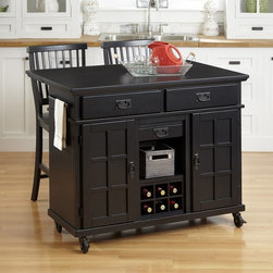 Home Styles - Home Styles Arts & Crafts Black 3 Piece Kitchen Cart and Two Stools Set - 5181-9 - Shop for Bars and Bar Sets from Hayneedle.com! With your Home Styles Arts & Crafts Black 3 Piece Kitchen Cart and Two Stools Set you get the look of classic Arts and Crafts design handy storage and a smart place to chat with a friend. This set is an updated take on classic Arts and Crafts design. It includes a kitchen cart and two stools made of hardwood solids and durable engineered wood with an antiqued black finish and protective clear coat. The kitchen cart has aged dark metal bail pulls with rectangular back plates for Arts and Crafts charm. A drop leaf makes it ideal for use with the handsome slat back chairs. The cart also includes a built-in 6-bottle wine rack towel rack and a bevy of cabinet doors and drawers. With its smooth rolling casters (two that lock) it's as movable as it is stylish. About Home StylesHome Styles is a manufacturer and distributor of RTA (ready to assemble) furniture perfectly suited to today's lifestyles. Blending attractive design with modern functionality their furniture collections span many styles from timeless traditional to cutting-edge contemporary. The great difference between Home Styles and many other RTA furniture manufacturers is that Home Styles pieces feature hardwood construction and quality hardware that stand up to years of use. When shopping for convenient durable items for the home look to Home Styles. You'll appreciate the value.