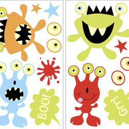 WallPops - Monsters Glow in the Dark Wall Art Decal Kit - Boo! This Monsters Wall Art kit will add so much fun to your room! These lovable monsters are designed with the cutest colors and details for an engaging style. In the dark they light up the room with happiness their cute monster expressions lending a friendly glow. These stickers have superior glow in the dark abilities and are repositionable and reusable.
