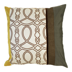 Epoch Silk Pillow Cover, Yellow- Gold, Gray & Brown, Small