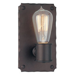 Troy Lighting - Troy Lighting B2501 Jackson 1 Light ADA Compliant Wall Sconce - Add an historic touch to everyday style with the Jackson 1-Light Wall-Mount Sconce from Troy Lighting. The chiseled-edge wall plate anchors an exposed electric carbon filament light bulb (included) while creating a subtle play of reflection and shadow. This handcrafted wrought iron luminaire is finished in Copper Bronze to accentuate its vintage character and infuse transitional spaces with old-timey charm. ADA compliant. Includes one 60-watt medium base lamp. Features: