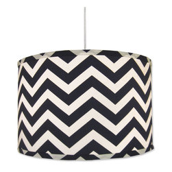 "Doodlefish - Navy Chevron Pendant Shade - This retro hanging pendant shade features the navy and white chevron fabric - Zig Zag Navy. The light is 16""d by 13""tall. It comes with a sleek white pluggable cord that measures 18' in length. Our pendants are hand made in America and are UL Listed.   This pendant uses one 40 watt or less bulb that is not included."