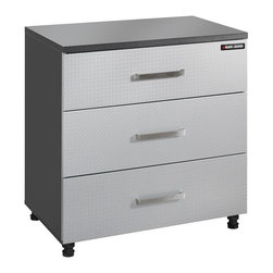 Black & Decker - Black & Decker 31.25 in. Base Cabinet - Silver - BG105370K - Shop for Cabinets from Hayneedle.com! The Black & Decker 31.25 in. Base Cabinet - Silver can handle paperwork spare parts power tools and more in its heavy-duty 3 drawer design. This charcoal and silver cabinet features metal handles and stands on leg levelers so you'll have a stable work surface; one that's flat and made of 1-inch melamine. Measures 31.25W x 19.625D x 32.75H inches and has a 50-lb. weight capacity per drawer. Black and DeckerA household name with the reputation for quality and innovation Black & Decker is a leader in small home appliances and number one in a wide range of products for the home. From the kitchen to the garage and beyond Black & Decker is innovating the products that you'll use today and tomorrow.