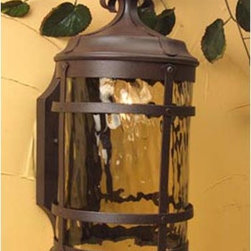 Exteriors by Craftmade - Espana Medium Outdoor Wall Mount - Featuring a traditional Spanish design, this outdoor lantern will enhance your outdoor d�cor.  It boasts champagne glass and rugged cast construction in a durable pro-tech rustic iron finish. Exteriors by Craftmade - Z5014-91