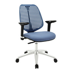 Modway Furniture - Modway Reverb Adjustable Armrests Office Chair in Blue - Adjustable Armrests Office Chair in Blue belongs to Reverb Collection by Modway Reverb is a flexible and responsive chair built for years of ergonomic comfort. Designed to offer support over both your lower and upper back regions, the flexible mesh back and waterfall seat design help keep you alert, while effectively distributing the weight of your body. The pneumatic lever and tension control knob fine-tune the chair's height and tilt to personalize Reverb, while the pivot and height adjustable armrests make sure your upper-body is well-positioned. Although mesh designs have increased in popularity in recent years, Reverb offers a choice that is both stylish and works admirably well to protect your body from daily stresses. The aluminum base comes equipped with five dual-wheeled hooded casters for easy gliding over carpeted surfaces, and the molded foam seat pan comes generously padded for extra comfort. Set Includes: One - Reverb Office Chair Office Chair (1)