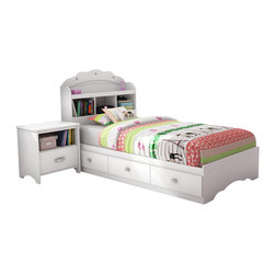 South Shore - South Shore Sabrina 3 Piece Twin Bookcase Bedroom Set in Pure White - South Shore - Bedroom Sets - 3650212098KIT3PKG - South Shore Sabrina 3 Drawer Single Dresser in Pure White (included quantity: 1) This chic dresser will give a glamor flair to your little princess room. The jewel like chromed metal handles will charm younger and older girls alike.  With its vertical compartment divided by a fixed shelf and three spacious drawers, the Sabrina dresser in Pure White finish is a convenient solution for storing clothes even bigger sweaters. The drawers are equipped with polymer glides including damper and catches.