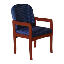 Wooden Mallet - Upholstered Arm Chair w Wood Frame & Dark Red - Fabric: Leaf BlueThe iconic arm chair is given added style & comfort with this Wooden Mallet home or office chair. Versatile and long-lasting model has solid oak construction with rich, dark red mahogany finish. Padded seat and back are upholstered in your choice of fabric colors. Pictured in Dark Red Mahogany with Blue Arch fabric finish. 1 In. thick solid oak frame. Extra thick seat and back cushions. Full length, fully upholstered, arched backs lend style and comfort. Minimal assembly required. Made in the USA. Complies with California TB 117 fire code. 1-Year limited warranty. Weight capacity: 400 lbs. per seat. 26 in. D x 21.5 in. W x 37 in. H (28 lbs.). Seat dimension: 16.5 in. D x 19.5 in. W x 14.5 in. H. Seat height: 19 in.. Arm height: 25 in.Wooden Mallet's Dakota Wave Prairie series with its full length, fully upholstered back offers graceful styling for sophisticated good looks. This standard leg model is for those who desire a more traditional, elegant look. This chair is constructed of solid oak with a state-of-the-art finish for beauty and durability. Choose from dozens of stain and fabric combinations to customize this chair for any décor or contact us to learn about supplying your own fabric for a personalized look. Choose this chair as part of our complete Dakota Wave collection of coordinating lobby essentials.