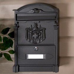 Residencia Aluminum Locking Wall-Mount Mailbox - With decorative columns that enhance the classic family crest design in its center, the Residencia mailbox will be a distinguished addition to any entrance. This locking wall mount mailbox also features an inward opening mail slot with a spring for ease of use.