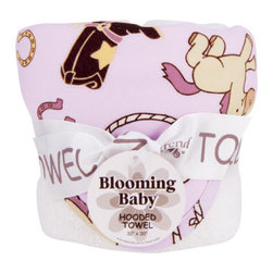 """Trend Lab - Bouquet Hooded Towel - Rodeo Princess - Trend Lab's Rodeo Princess Hooded Towel will keep your baby warm and dry after bath time. The white terry towel features a cotton percale cowgirl themed scatter print throughout the hood and trim in chocolate, maple, cream and violet with touches of dreamsicle orange and caramel on a soft orchid background. Hooded towel measures 32"""" x 30""""."""