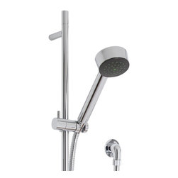 Hudson Reed - Kew Style Slider Rail Shower Kit With Handset & Wall Outlet Elbow in Chrome - The Hudson Reed Kew slider rail kit comprises a slider rail with a sleek ABS shower head and metal hose. The rail is made from chrome plated brass. You can remove the shower head from the rail and use as a handheld shower. When attached to the rail you can adjust the height of the shower head by releasing the bracket and sliding it up or down the rail. Supplied with wall outlet elbow.